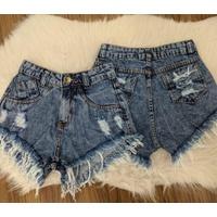 Shorts Jeans Desfiado Mesclado Escuro
