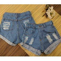 Shorts Jeans Barra Dobrada Claro