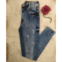 Calça Jeans Pilily com Cinta Modeladora Desfiada Médio