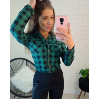 Camisa Xadrez Preto com Verde