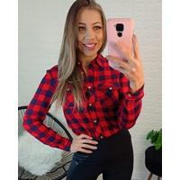 Camisa Xadrez Vermelho com Azul