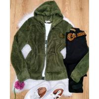 casaco ted Jaqueta Peluciada com Zíper Verde