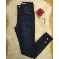 Calça Jeans Melinda Botões na Barra Escura
