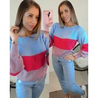 Blusa Tricô Azul, Pink e Lilás