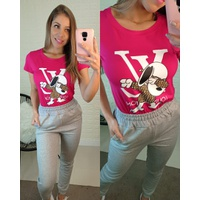 T-shirt Louis Viton Snoopy Pink