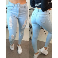 Calça Jeans Melinda Com Cinto e Rasgadinha Clara
