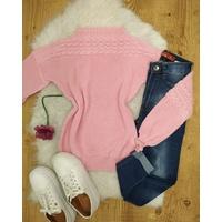 Blusa Tricô Trançado Rosa Claro