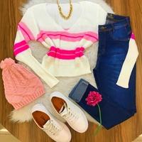 Blusa Tricô Branco com Rosa