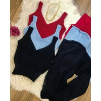 Twin Set Tricô Cropped e Casaco Liso Azul Marinho