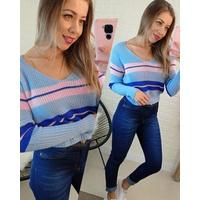 Blusa Tricô Azul com Rosa