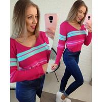 Blusa Tricô Pink com Verde