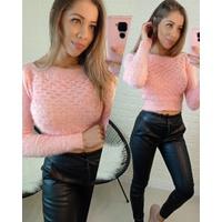 Blusa Cropped Pelinhos Escamas Rosa