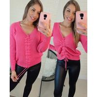Blusa Tricô Com Franzido Rosa