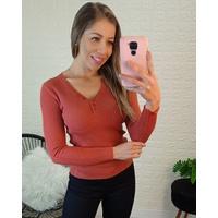Blusa Tricô Canelado Botões Telha