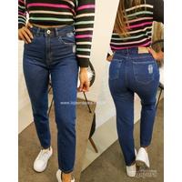 Calça Jeans Mom Escura Lisa