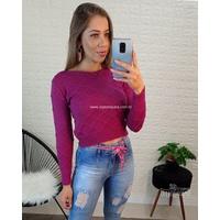 Blusa Cropped Tricô Roxo