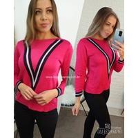 Blusa Trico Rosa Pink Detalhe v Azul Marinho