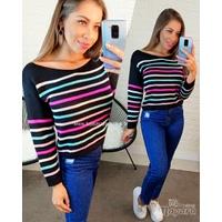 Blusa Tricô Preta Com Litras Coloridas Copia