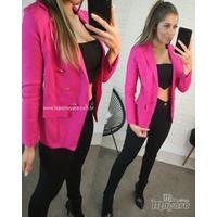 Blazer Bengaline Botões Pink