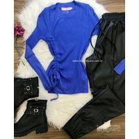 Blusa Tricô Canelado com Detalhe Lateral Azul