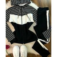 Conjunto Calça e Casaco Quadriculado Preto e Branco