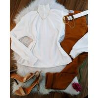 Camisa Gola Sanfonada Branca