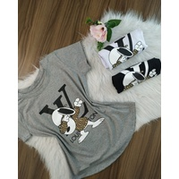 T-shirt Louis Viton Snoopy Cinza