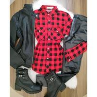 Camisa Xadrez Preto com Vermelho