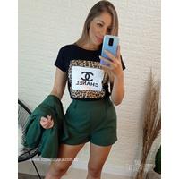 T-shirt Chanel Preta