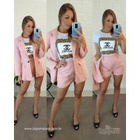 Conjunto Blazer e shorts Rosa