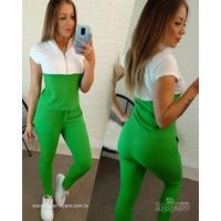 Conjunto Calça e Blusa Com Zíper - Branco e Verde