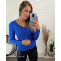 Blusa Tricot Gola v - Azul Royal