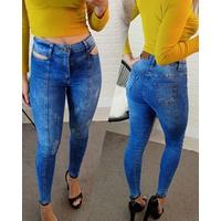 Calça Jeans Melinda - Abertura No Quadril | Mescladinho Azul Claro/médio