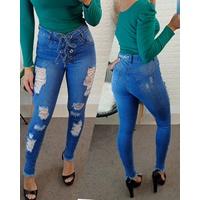 Calça Jeans Melinda |amarração Na Frente|rasgos Na Perna|azul Médio
