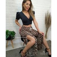 Calça Pantalona Com Fenda Lateral Animal Print