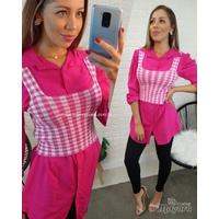 Cropped Tricô Xadrez Pink