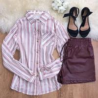 Camisa Listrada Com Botão - Rosa
