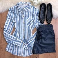 Camisa Listrada Com Botão - Azul