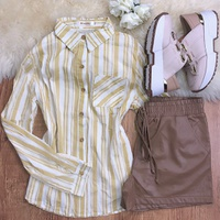 Camisa Listrada Com Botão - Amarela