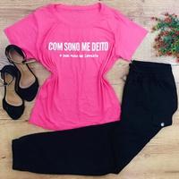 Blusa Pink - Com Sono Me Deito, Com Sono Me Levanto