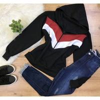 Casaco Moletom Capuz - Preto Com Vermelho e Branco