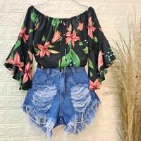 Blusa Bata Ciganinha Floral Preta