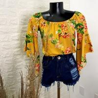 Blusa Bata Ciganinha Floral Mostarda