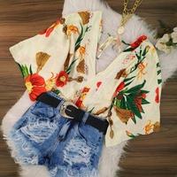 Blusa Bata Floral Creme