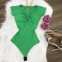 Body Canelado Laço Ciganinha Verde