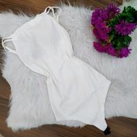 Body Canelado Decote Franzido Off White