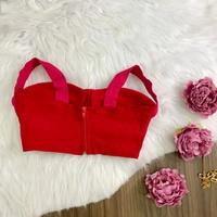 Cropped Bengaline Rosa e Vermelho