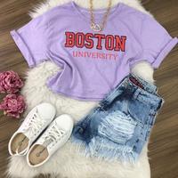 Cropped Boston Lilás