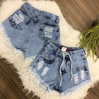 Shorts Jeans Com Amarra Mesclado