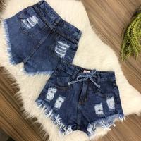 Shorts Jeans Com Amarra e Brilho